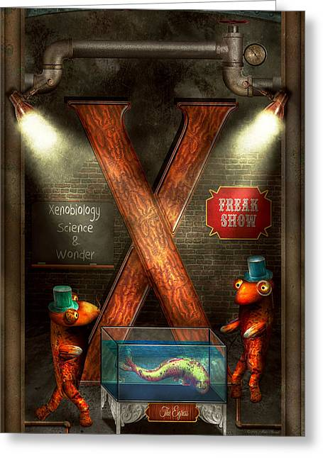 Freak Show Greeting Cards - Steampunk - Alphabet - X is for Xenobiology Greeting Card by Mike Savad