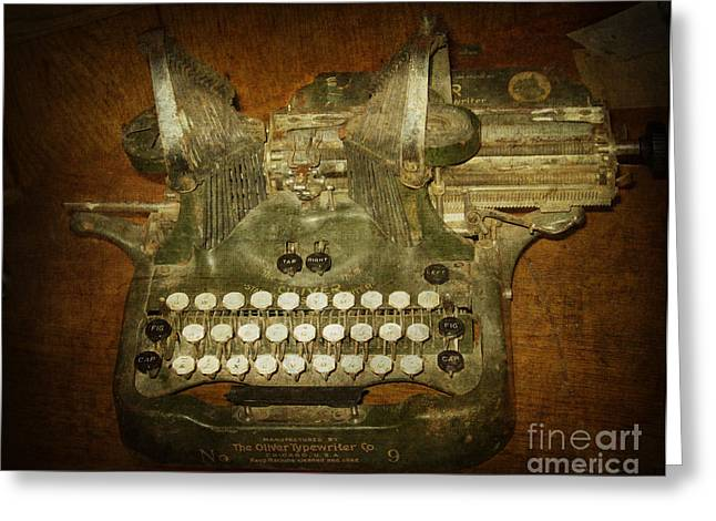 Chicago Typewriter Greeting Cards - Steampunk Antique typewriter Oliver Company Greeting Card by Svetlana Novikova