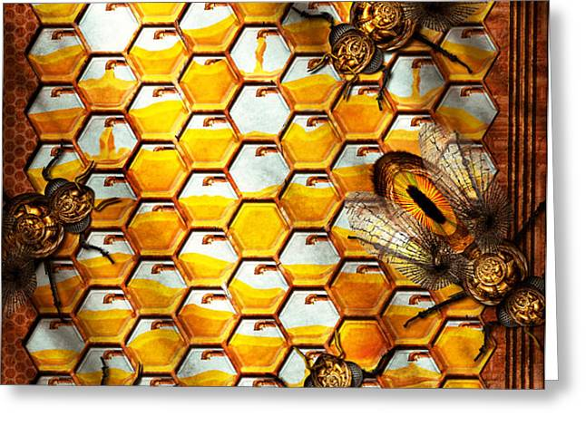 Steampunk - Apiary - The hive Greeting Card by Mike Savad