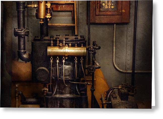 Steampunk - Back in the engine room Greeting Card by Mike Savad