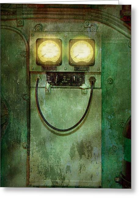 Electrical Meter Greeting Cards - Steampunk - Be Happy Greeting Card by Mike Savad