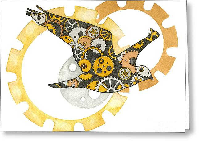 Nora Blansett Mixed Media Greeting Cards - Steampunk Bird Greeting Card by Nora Blansett