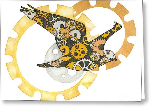 Steampunk Bird Greeting Card by Nora Blansett