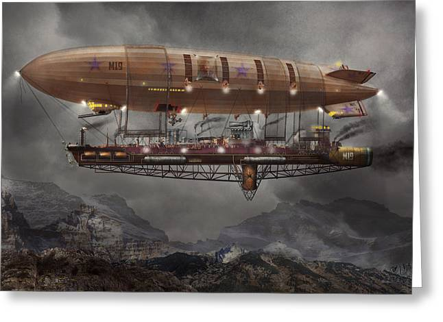 Obedience Greeting Cards - Steampunk - Blimp - Airship Maximus  Greeting Card by Mike Savad
