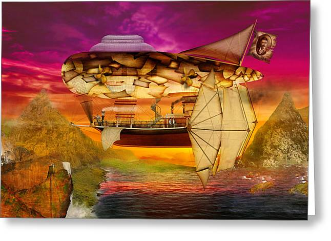 Nature Scene Digital Art Greeting Cards - Steampunk - Blimp - Everlasting wonder Greeting Card by Mike Savad