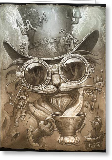 Cat Art Greeting Cards - Steampunk Cat Greeting Card by Jeff Haynie