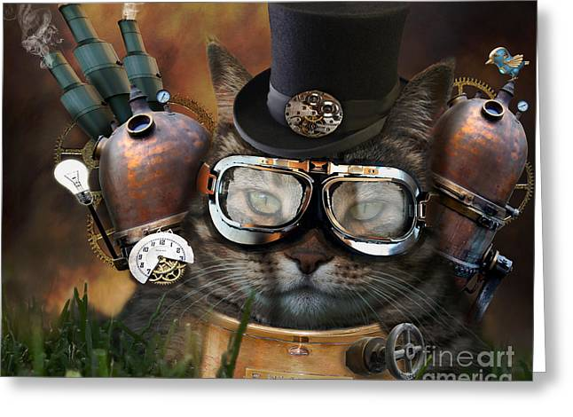 Imagination Greeting Cards - Steampunk Cat Greeting Card by Juli Scalzi