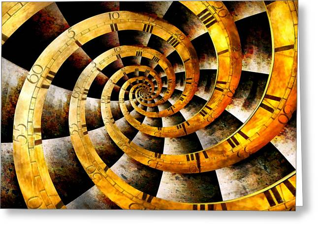 Steampunk - Clock - The flow of time Greeting Card by Mike Savad