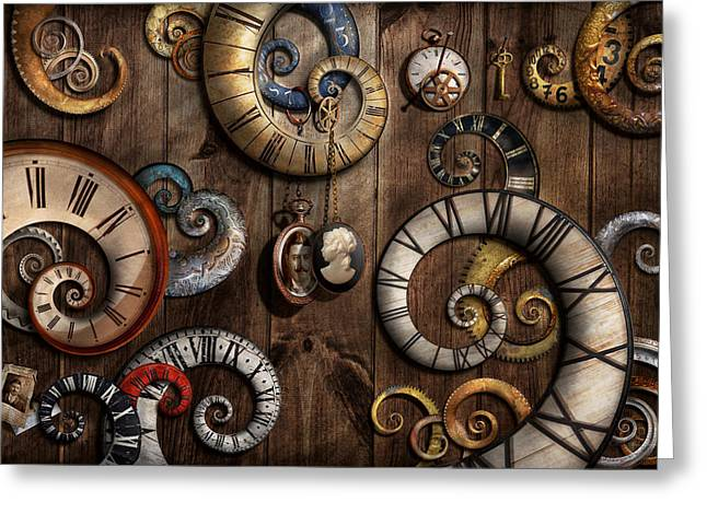 Geek Photographs Greeting Cards - Steampunk - Clock - Time machine Greeting Card by Mike Savad