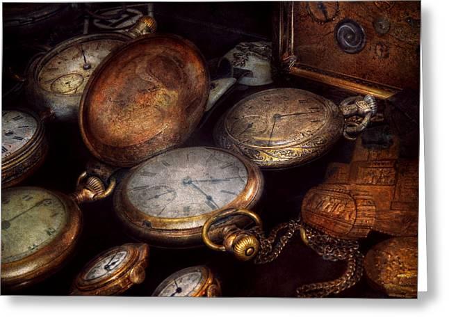 Horolog Greeting Cards - Steampunk - Clock - Time worn Greeting Card by Mike Savad