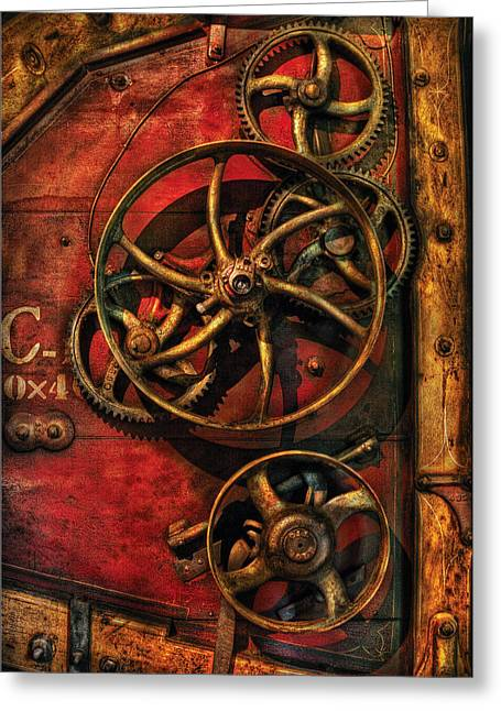Steampunk - Clockwork Greeting Card by Mike Savad