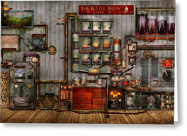Automated Digital Art Greeting Cards - Steampunk - Coffee - The company coffee maker Greeting Card by Mike Savad