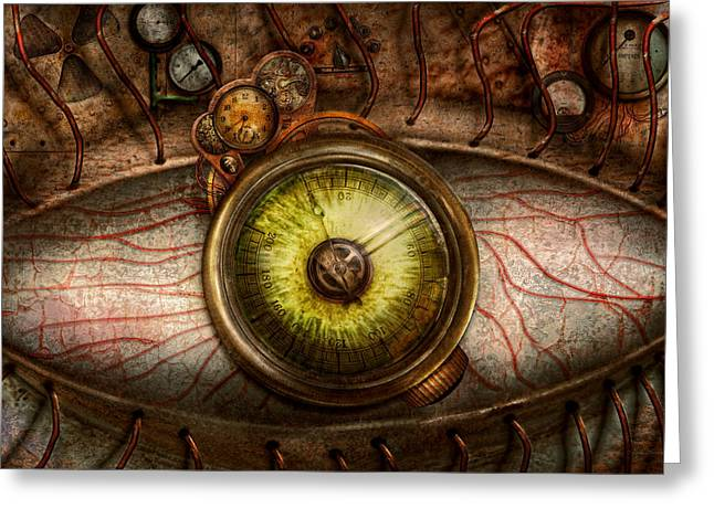 Self Photographs Greeting Cards - Steampunk - Creepy - Eye on technology  Greeting Card by Mike Savad