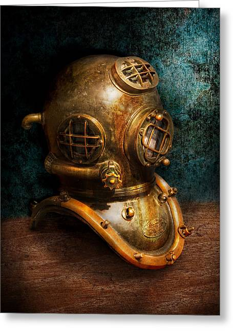 Brass Greeting Cards - Steampunk - Diving - The diving helmet Greeting Card by Mike Savad