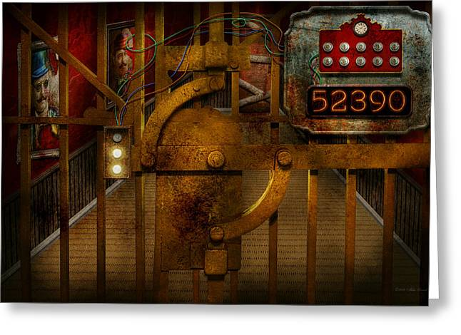 Locked Out Greeting Cards - Steampunk - Dystopia - The Vault Greeting Card by Mike Savad