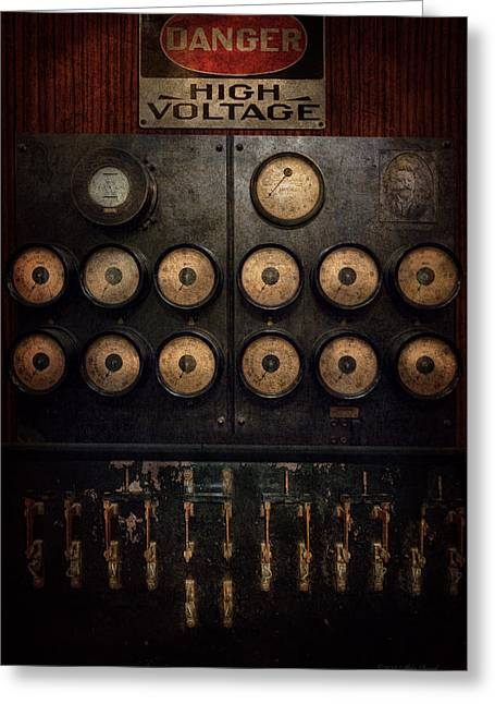 Gadget Greeting Cards - Steampunk - Electrical - Center of power Greeting Card by Mike Savad