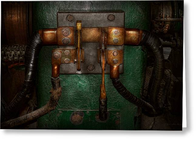 Wire Handle Greeting Cards - Steampunk - Electrical - Pull the switch  Greeting Card by Mike Savad