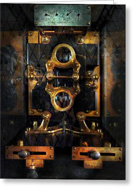 Mechanism Photographs Greeting Cards - Steampunk - Electrical - The power meter Greeting Card by Mike Savad