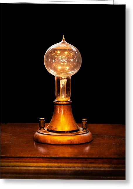 Advancement Greeting Cards - Steampunk - Electricity - Bright ideas  Greeting Card by Mike Savad