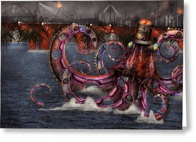 Mikesavad Digital Greeting Cards - Steampunk - Enteroctopus magnificus roboticus Greeting Card by Mike Savad