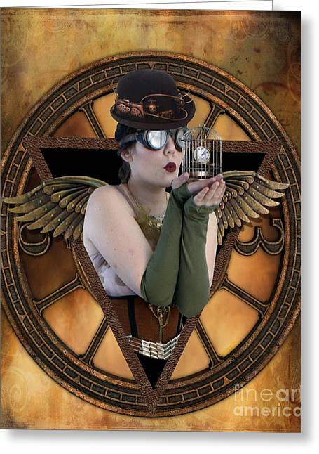 Bird Cage Greeting Cards - Steampunk Fairy Greeting Card by Juli Scalzi