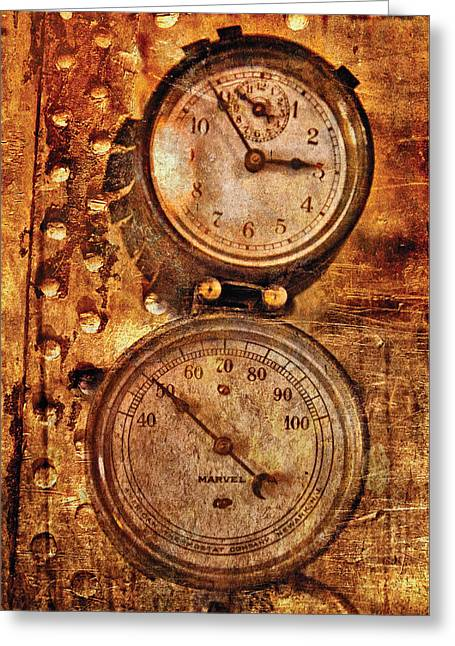 Steampunk - Gauges Greeting Card by Mike Savad