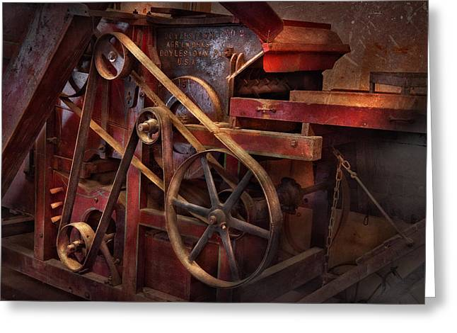 Geek Photographs Greeting Cards - Steampunk - Gear - Belts and Wheels  Greeting Card by Mike Savad