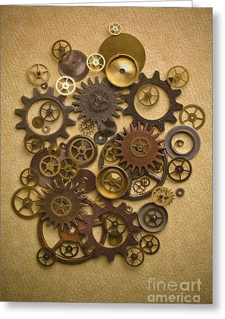 Gears Greeting Cards - Steampunk Gears Greeting Card by Diane Diederich