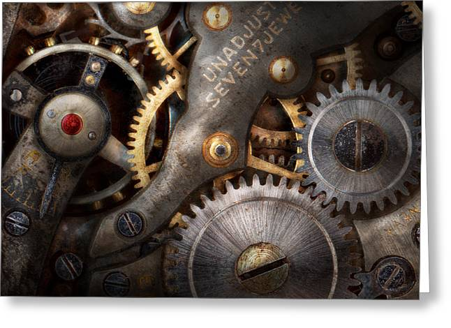 Personalized Greeting Cards - Steampunk - Gears - Horology Greeting Card by Mike Savad