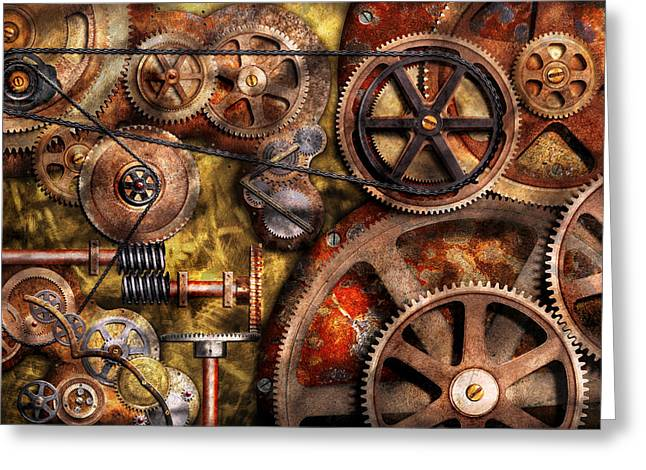 Abstractions Photographs Greeting Cards - Steampunk - Gears - Inner Workings Greeting Card by Mike Savad