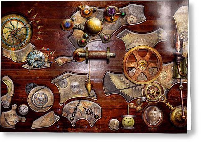 Watchmaker Greeting Cards - Steampunk - Gears - Reverse engineering Greeting Card by Mike Savad