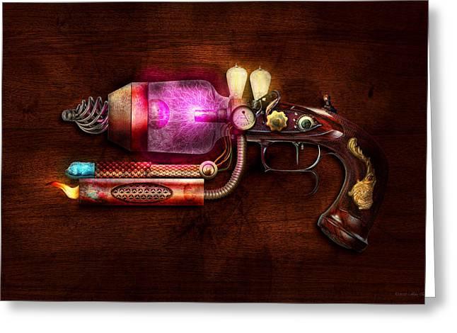 Steampunk Digital Art Greeting Cards - Steampunk - Gun -The neuralizer Greeting Card by Mike Savad