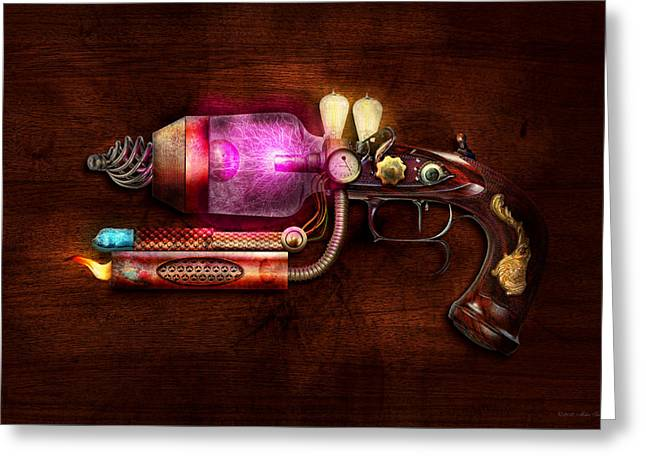 Steampunk Digital Art Greeting Cards - Steampunk - Gun -The neuralizer Greeting Card by Mike Savad