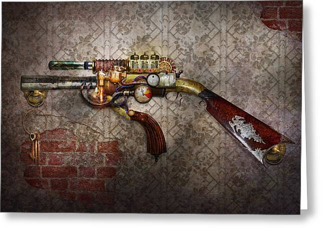Police Art Greeting Cards - Steampunk - Gun - The sidearm Greeting Card by Mike Savad