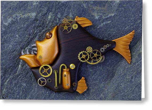 Figurine Mixed Media Greeting Cards - Steampunk Hatchetfish Greeting Card by Stephen Kinsey