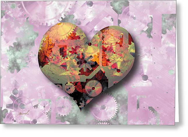 Mechanism Greeting Cards - Steampunk Heart Greeting Card by The Art of Marsha Charlebois