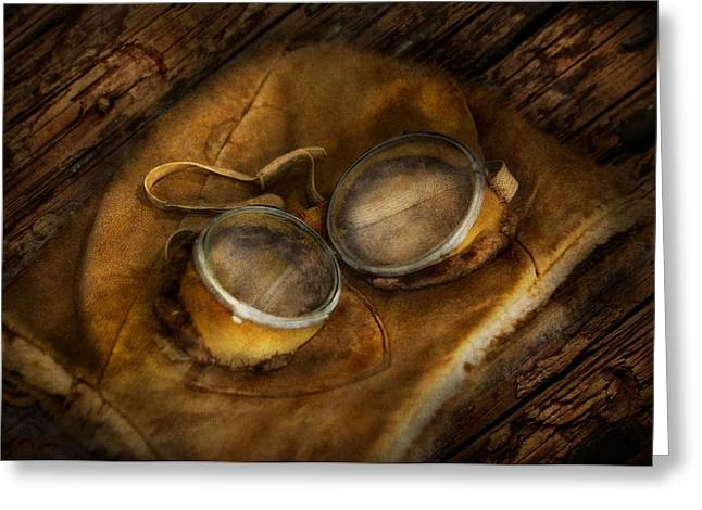 Optometrist Greeting Cards - Steampunk - Hey Fly-Boy  Greeting Card by Mike Savad