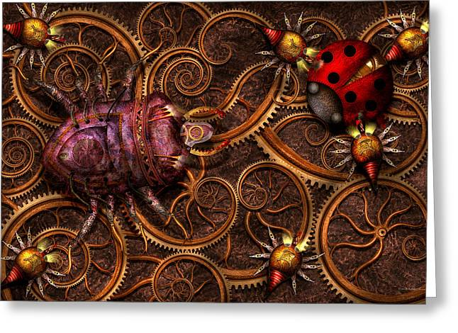 Robotic Life Greeting Cards - Steampunk - Insect - Itsy bitsy spiders Greeting Card by Mike Savad