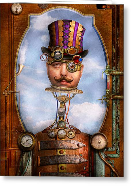 Self-portrait Greeting Cards - Steampunk - Integrated Greeting Card by Mike Savad