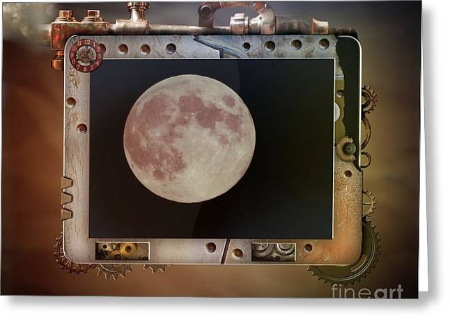 Tablets Greeting Cards - Steampunk iPad Moon Greeting Card by Deniece Platt