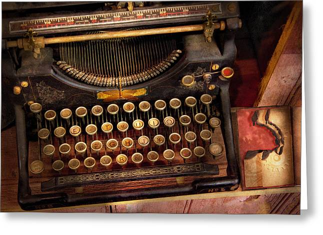 Steampunk - Just an ordinary typewriter  Greeting Card by Mike Savad