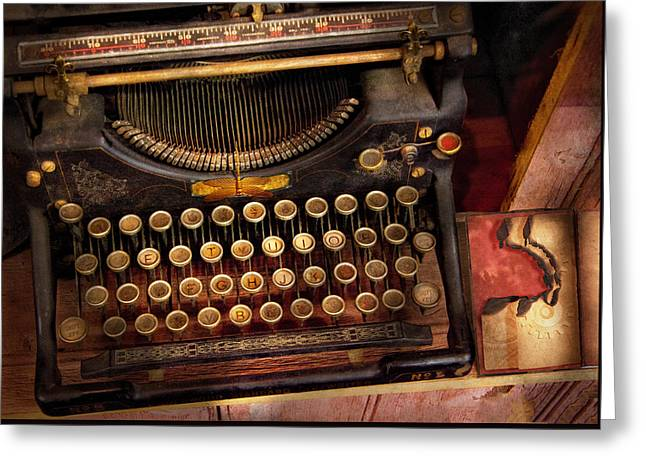 Customizable Photographs Greeting Cards - Steampunk - Just an ordinary typewriter  Greeting Card by Mike Savad