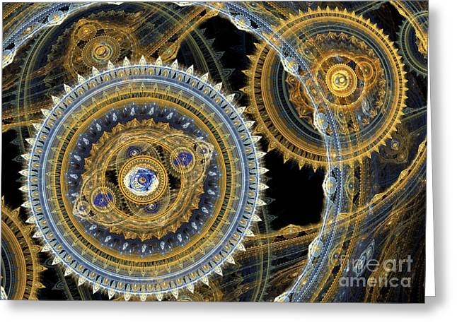 Gearing Greeting Cards - Steampunk machine Greeting Card by Martin Capek