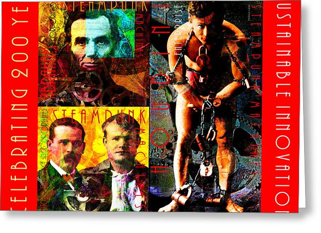 Houdini Greeting Cards - Steampunk Machines Celebrating 200 Years of Timeless Elegance and Sustainable Innovation 20140515 c7 Greeting Card by Wingsdomain Art and Photography