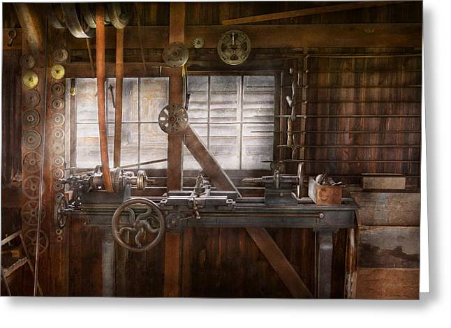 Steampunk - Machinist - My Tinkering Workshop  Greeting Card by Mike Savad