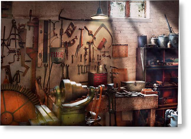 Tinkered Greeting Cards - Steampunk - Machinist - The inventors workshop  Greeting Card by Mike Savad