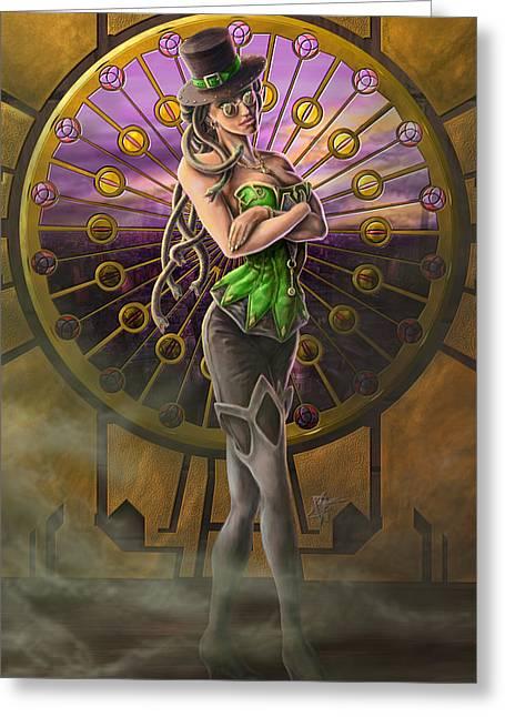 Medusa Greeting Cards - Steampunk Medusa Greeting Card by Rob Carlos