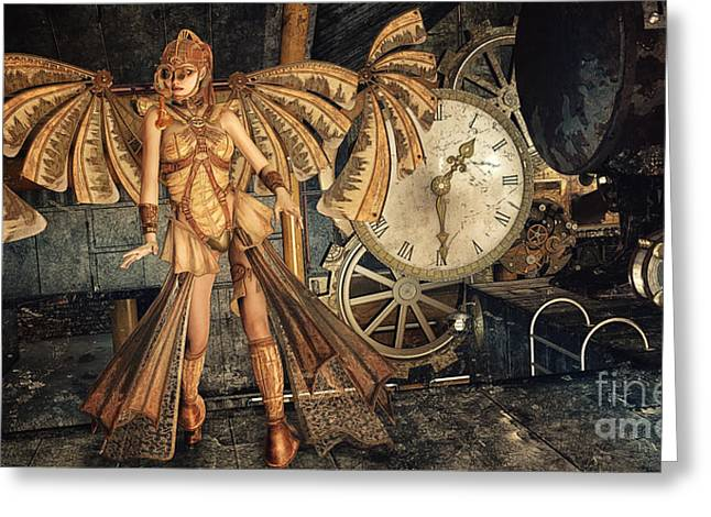 Meeting. Point Greeting Cards - Steampunk Meeting Point Greeting Card by Jutta Maria Pusl