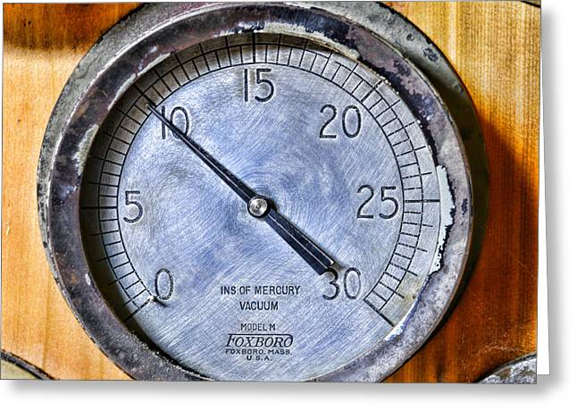 Foxboro Greeting Cards - STEAMPUNK - Mercury Vacuum Gauge Greeting Card by Paul Ward