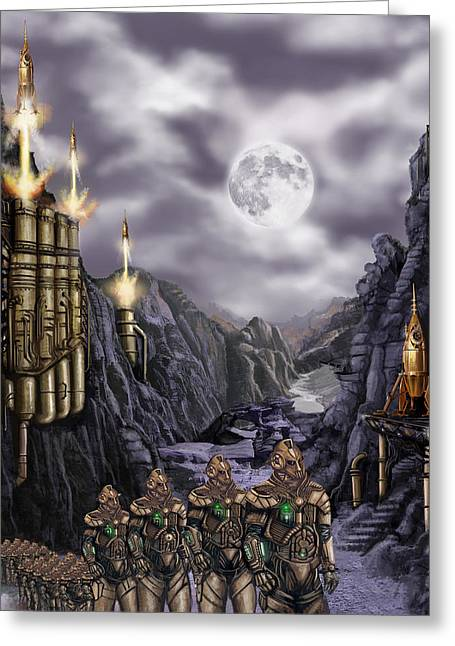 Rotate Paintings Greeting Cards - Steampunk Moon Invasion Greeting Card by James Christopher Hill